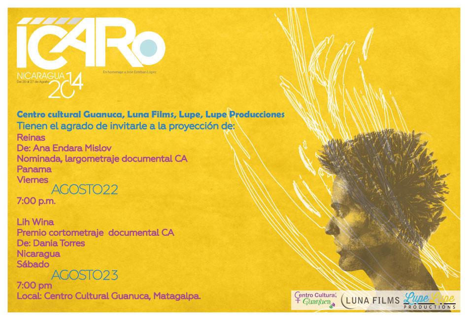 Logo de Icaro Nicaragua, texto que menciona la lista de lugares donde se presentaran y una cara con pinceladas blancas y amarillas